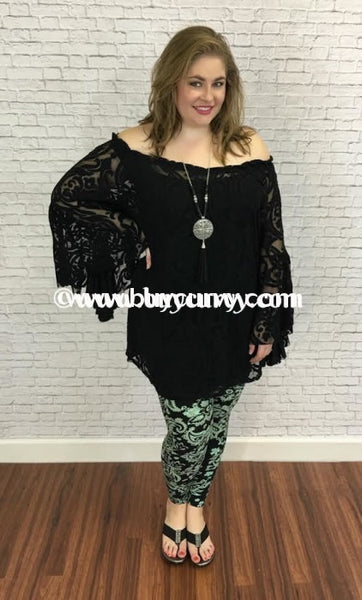 Sq-E Black Damask Print Sheer With Bell Sleeves Sq