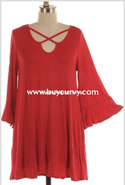 Sq-E {Lovers Tryst} Red Tunic With Criss-Cross Detail Extended Plus Sq