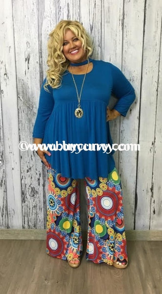 Sq-E {Sale!!} Bellamie Blue With Neck Detail & 3/4 Sleeves Sq