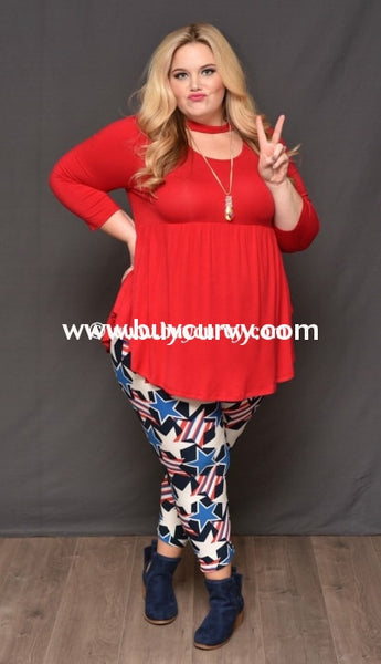 Sq-H Bellamie {Sale!!} Red With Neck Detail & 3/4 Sleeves Sq