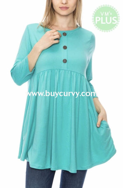 Sq-H {Discover More} Soft Turquoise Tunic With Button Detail Sq