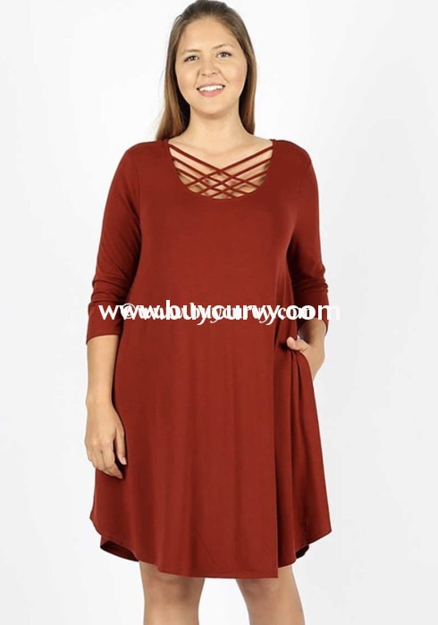 Sq-H {Working On It} Sienna Dress With Cage Neck Detail Sq