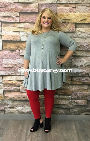 Sq-I Heather Gray Tunic Or Dress With Pockets & 3/4 Sleeves Sq