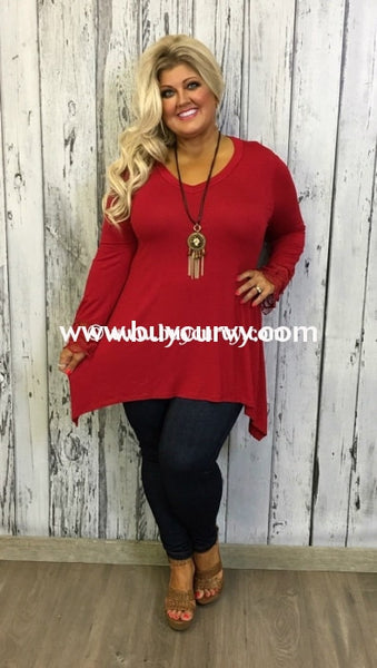 Sq-J Asymmetrical Burgundy V-Neck With Crochet Sleeves Sale!! Sq