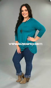 Sq-K Teal 3/4 Sleeve Jersey Knit Tunic With Knot Detail Sq
