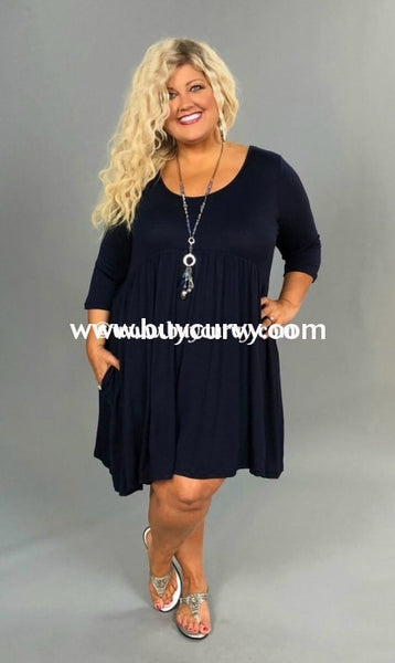 Sq-L {Just As You Are} Navy Babydoll Dress With 3/4 Sleeves Sq