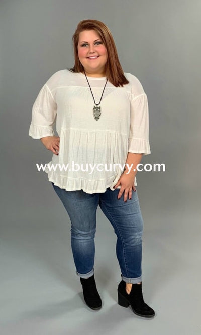 Sq-L Sale! Ivory Layered With Ruffle Sleeves & Hem Sq