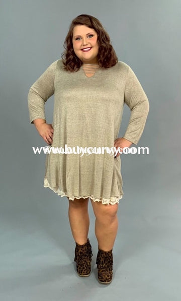 Sq-M {All Shook Up} Umgee Taupe Tunic Built-In Lace Slip Sq