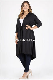 Sq-M {Great Day} Black Cardigan With Drawstring Waist Sq