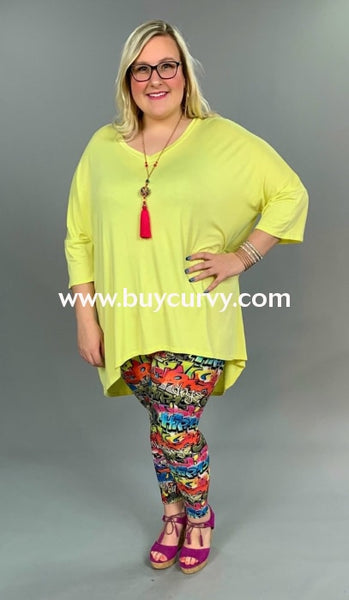 Sq-M {Its All Good} Bright Yellow Hi-Lo With V-Neck Extended Plus Sq