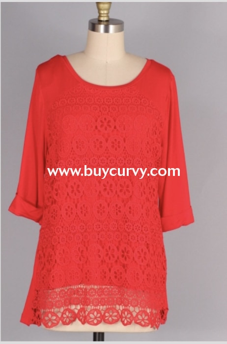 Sq-M {Perfect For You} Red Top With Crochet Lace Overlay Sq