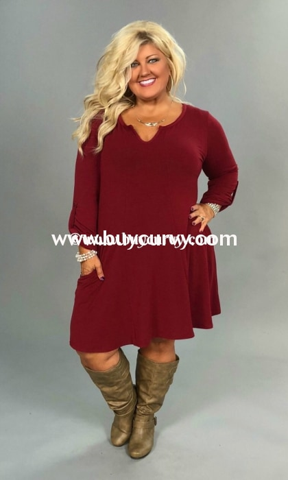 Sq-N Andree V-Neck Burgundy Knit Dress With Roll-Tab Sleeves Sq