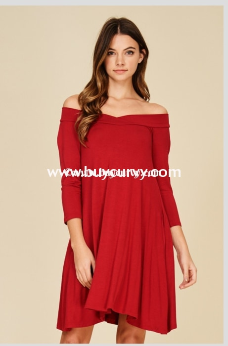 Sq-O Red Off-Shoulder Flared Dress With Side Pockets Sq