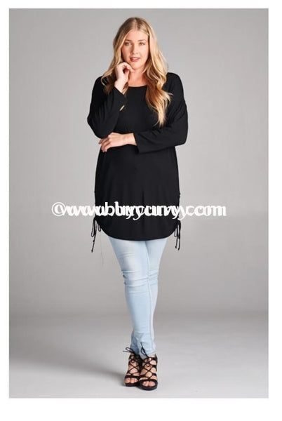 Sq-O Solid Black With Drawstring Detail On Sides Sale! Sq