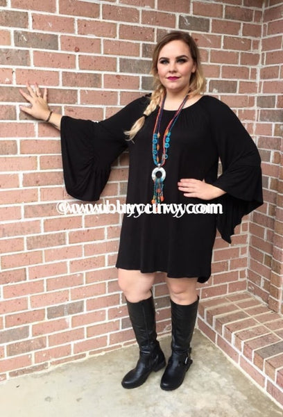 Sq-O&z Black With Elastic Scoop Neck & Bell Sleeves Sale!! Sq