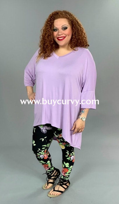Sq-P {Its All Good} Lavender Hi-Lo With V-Neck Extended Plus Sq