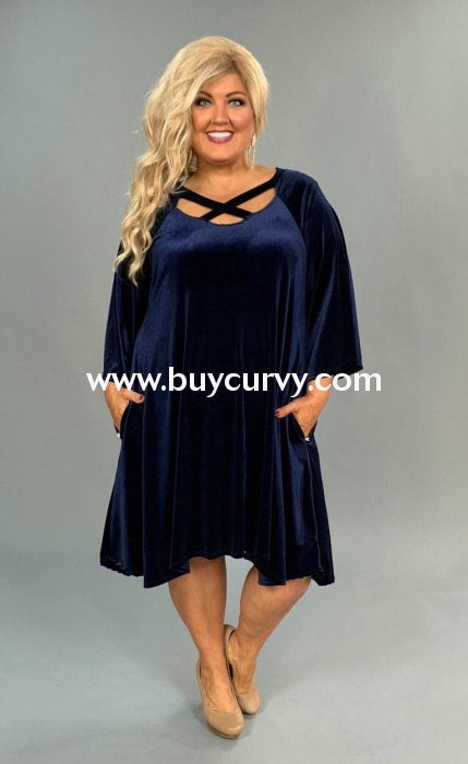 Sq-V Navy Blue Velvet With Criss-Cross V-Neck Sale!! Sq