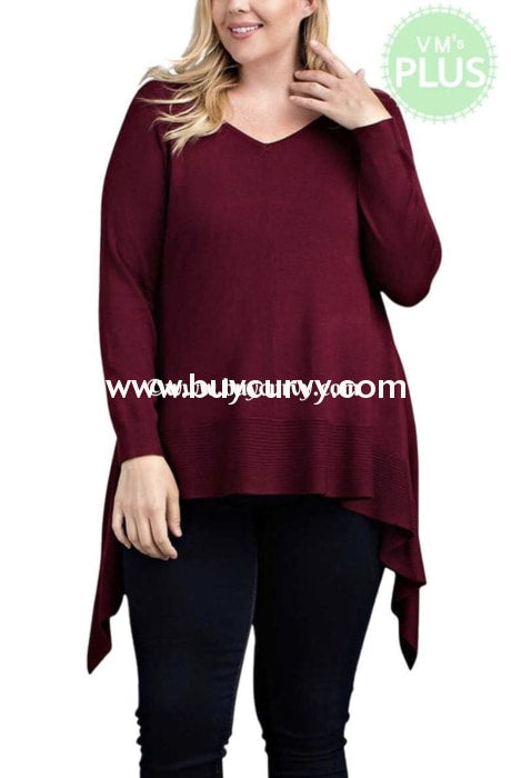 Sq-Y {Talk To Me} Wine Asymmetrical V-Neck Tunic Sq