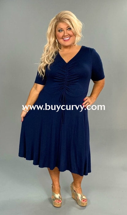 91b82d12b05 LD-Z  Give You My Word  Navy Dress with Ruched Detail – Curvy ...