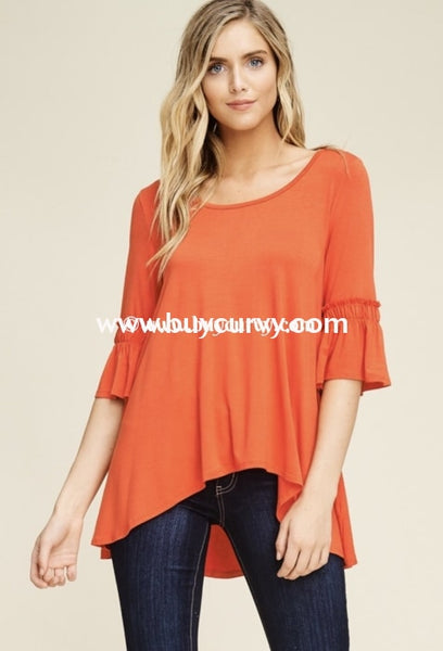 Sq-Z Take All Of Me Orange Hi Lo Ruffle Detail Sale!! Sq