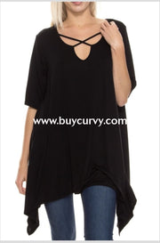 Sss-A Been That Way Black Criss Cross Asymmetrical Tunic Sss