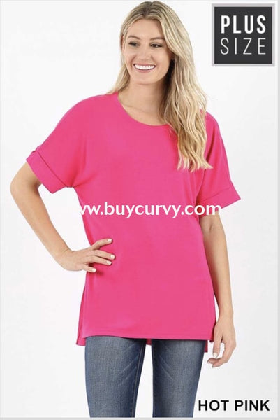 Sss-A {Carefree Attitude} Fuchsia Top With Cuffed Sleeve Sss