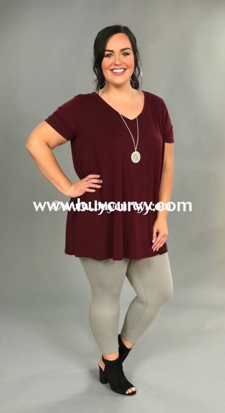 Sss-D {Show Some Glamour} Wine V-Neck Tunic W/ Pockets Sss