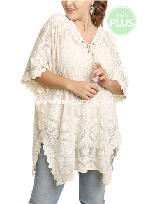 Sss-D {Trusted Favorite} Cream Lace Sheer Embroidery Top Sss