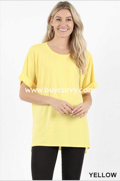 Sss-F {Carefree Attitude} Yellow Top With Cuffed Sleeve Sss