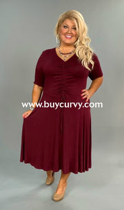 Sss-H {Give You My Word} Wine Dress With Ruched Detail Sss