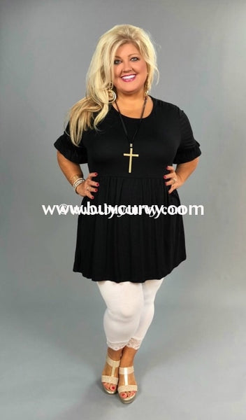 Sss-I Play It Cool Black Short Sleeve Babydoll With Ruffle Tunic Sss