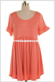 Sss-K {Play It Cool} Coral Short Sleeve Babydoll Ruffle Sale! Sss