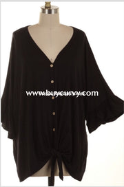 Sss-L (Extended Plus) Black V-Neck Tunic W/button Front & Tie Knot Sss
