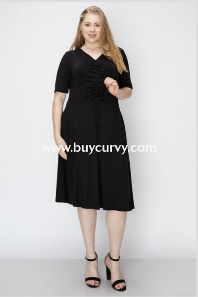 Sss-L {Give You My Word} Black Dress With Ruched Detail Sss