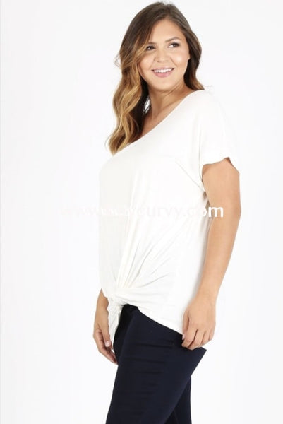 Sss-L {Keep It Simple} Ivory Top With Knot Hem Sss