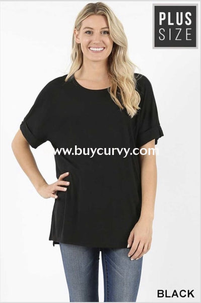 Sss-N {Carefree Attitude} Black Top With Cuffed Sleeve Sss