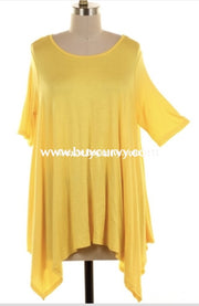 Sss-X {Cool Summer} Sale!! Yellow Asymmetrical Short Sleeve Extended Plus Sss