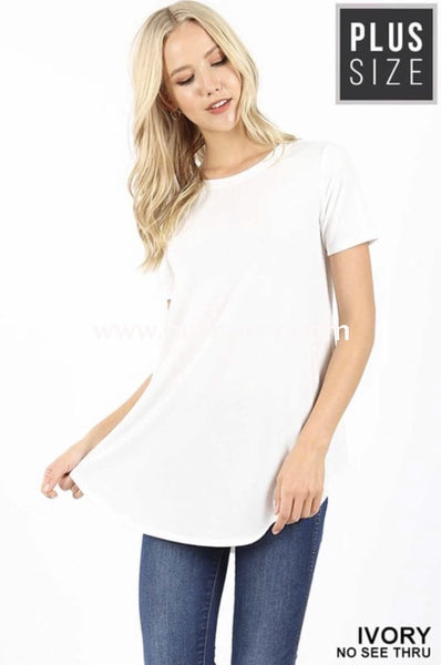 Sss-X {Simple Ways} Ivory Short Sleeve Top (Soft & Stretchy!) Sss
