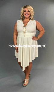 Sv-A {Find Me} Ivory Sleeveless With Ruched Waist Sale!!