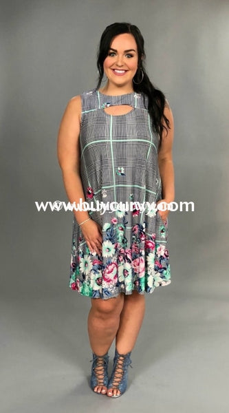 Sv-A {Sale!!} I Dont Know Why Navy Floral Border Keyhole Sleeveless