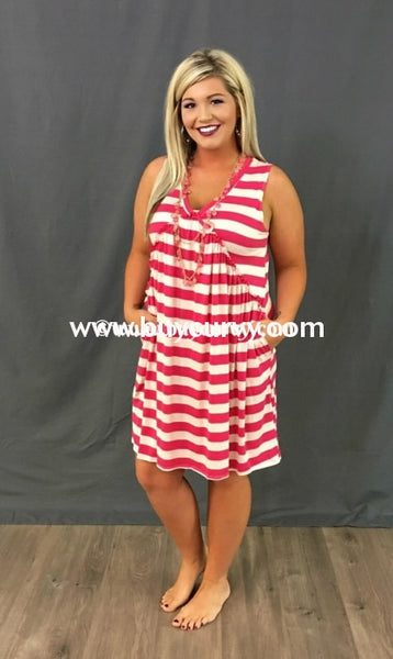 Sv-A {Sale!!} Pink/oatmeal Striped V-Neck With Side Pockets Sleeveless