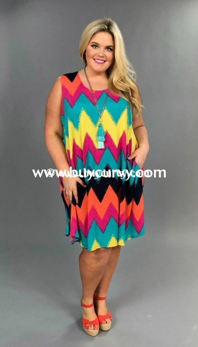 Sv-C Beautiful Disaster Chevron Sleeveless Extended Plus