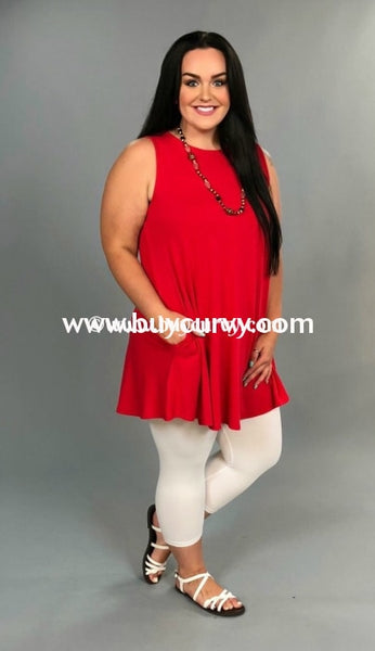 Sv-C Keep Me Ruby Red With Pockets Sale! Sleeveless