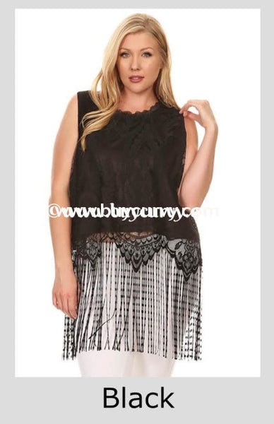 Sv-E {Sale!!} Sleeveless Black With Lace Overlay & Fringe Hem