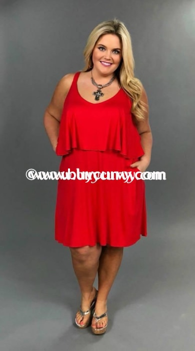 Sv-G Pretty Young Thing Red With Ruffle Detail Sale!! Sleeveless