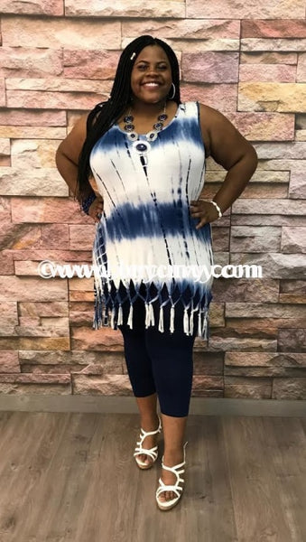 Sv-Q Navy/ivory Bamboo Sleeveless Fringed Hem Sale!!