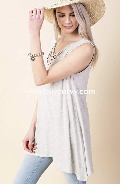 Sv-X {Got My Eye On You} Ivory Sleeveless Cage Neck Top