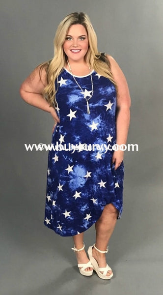 Sv-Y {Patriotic Fun} Navy Tie Dye Dress With Stars Knotted Sleeveless