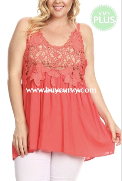 Sv-Z {How Do You Like Me Now} Coral Crochet Adjustable Sale!! Sleeveless