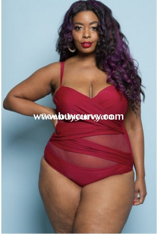 6a4c2467b97 Swim  Curvy Elegance  Burgundy One-Piece Swimsuit (Runs Small) Swimwear